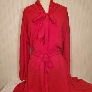 VINTAGE Red Long Sleeve Dress